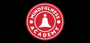 2015 yılında kurulan Mindfulness Academy'nin kırmızı-beyaz, yuvarlak logosu.